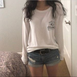White graphic sweater